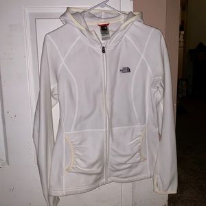 White North Face zip up jacket